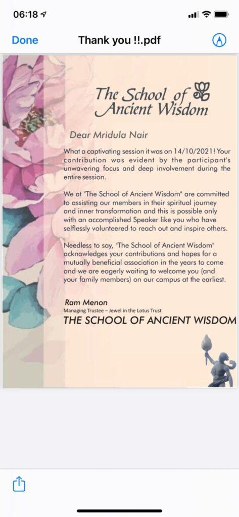 EFT address at The School of Ancient Wisdom